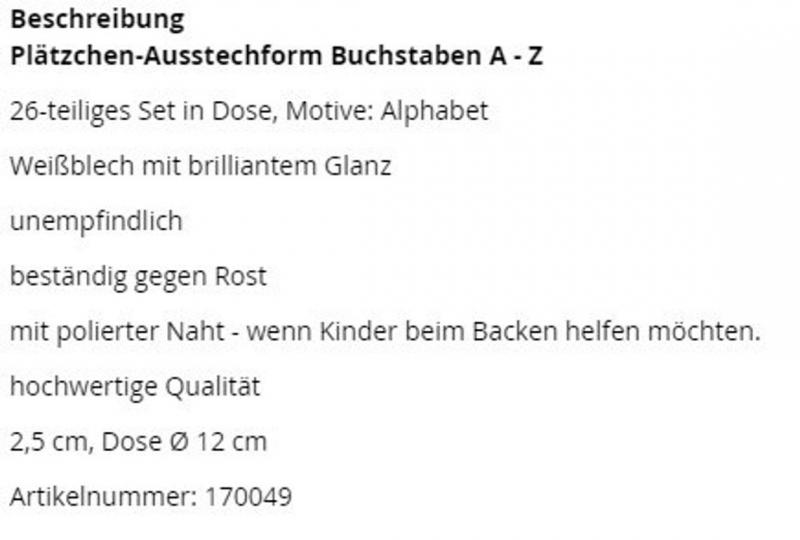 Ausstechformen Buchstaben A - Z / 26-tlg. 2,5 cm