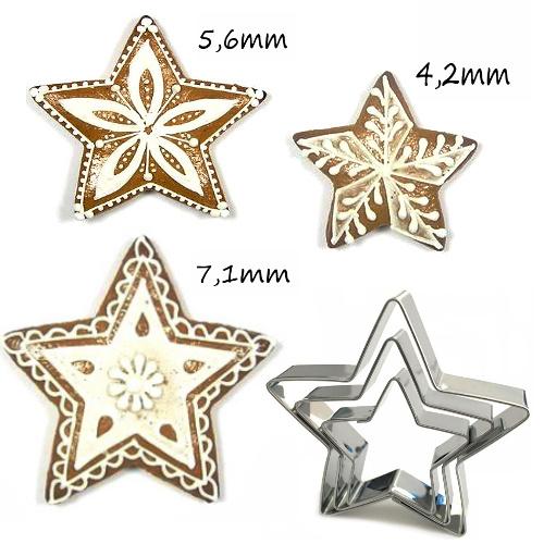 3 teiliges Ausstecher-Set Sterne (5 zackig)