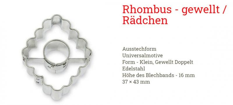 Ausstecher 3er Set Linzer Rhombus 4cm