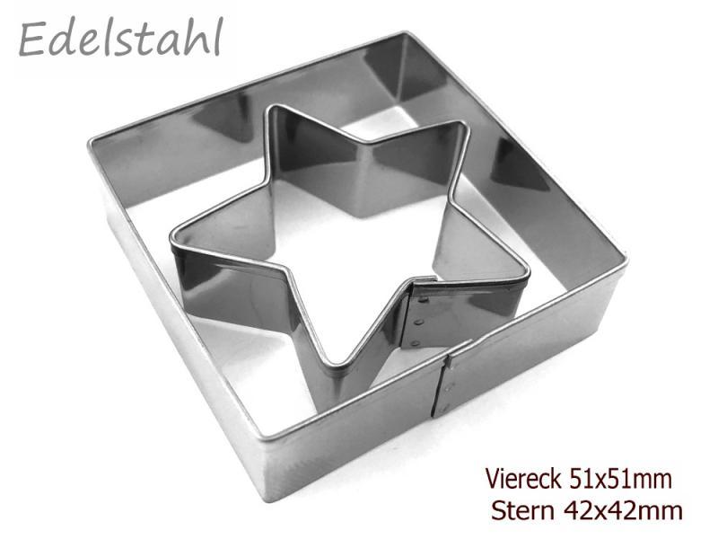 Ausstechform 2er Set Edelstahl Ausstecher Viereck 51x51mm & Stern 42x42mm Biskuit