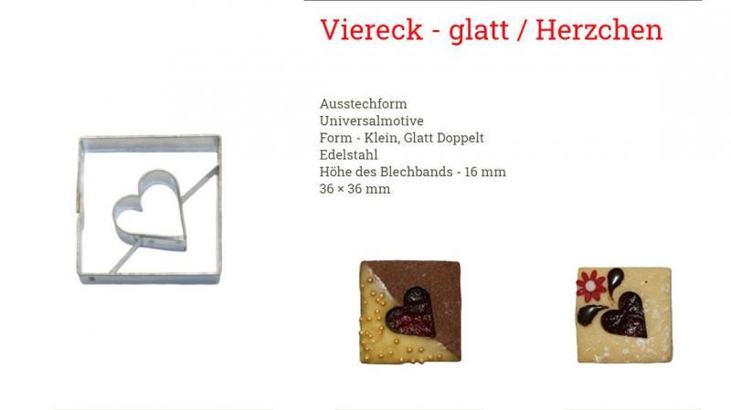 Ausstechform Linzer Viereck/Herz 3,6cm